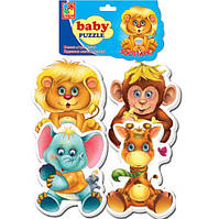 Беби пазл мягкий для малышей Зоопарк  (4шт. в наборе) Vladi Toys VT 1106-10.