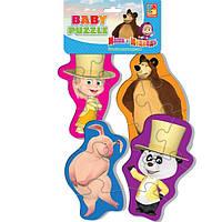 Беби пазл мягкий для малышей Маша и Медведь Танцор (4шт. в наборе) Vladi Toys VT 1106-43