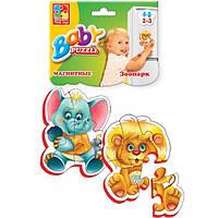 Магнитный беби пазл мягкий для малышей Зоопарк (2 шт. в наборе) Vladi Toys VT 3208-01 .