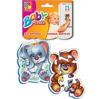 Магнитный беби пазл мягкий для малышей Лесные жители.  (2 шт. в наборе) Vladi Toys VT 3208-03 .