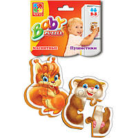 Магнитный беби пазл мягкий для малышей Пушистики.(2 шт. в наборе) Vladi Toys VT 3208-04 .