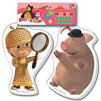 Макси беби пазл мягкий для малышей Маша и Медведь Шерлок Холмс (2 шт. в наборе) Vladi Toys VT 1108-04
