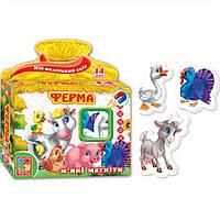 Развивающая игра, набор тематических магнитов Мой маленький мир Ферма Vladi Toys VT 3101-03 (укр)