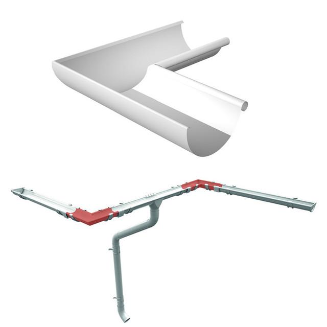 Угол внутренний поворот для желоба 90 градусов Ruukki 125 мм, на металлическую водосточную систему