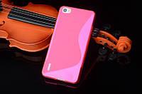 Силиконовый чехол Duotone для Huawei Honor 6 розовый