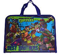 """Папка-портфель на молнии с тканевыми ручками """"Ninja Turtles"""" 491071"""