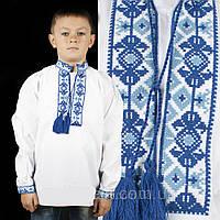 Детская вышиванка на мальчика белая, вышивка крестиком, машинная