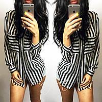 Свободная блузка в полоску с карманами