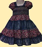 Платье детское джинсовое, с малиновыми вставками, р.100 см