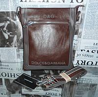 Сумка мужская кожаная Dolce & Gabbana коричневая