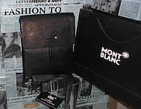 Сумка мужская кожаная наплечная  MONT BLANC цвет черный