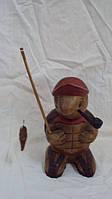 Статуэтка деревянная черепаха рыбак высота 20см