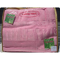 Бамбуковая махровая простынь 200x220 Exclusive bambo pembe