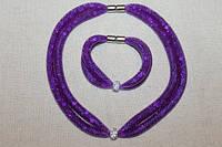 """Набор Stardust  """"Фиолетовый с бусинкой"""" Колье+браслет, фото 1"""