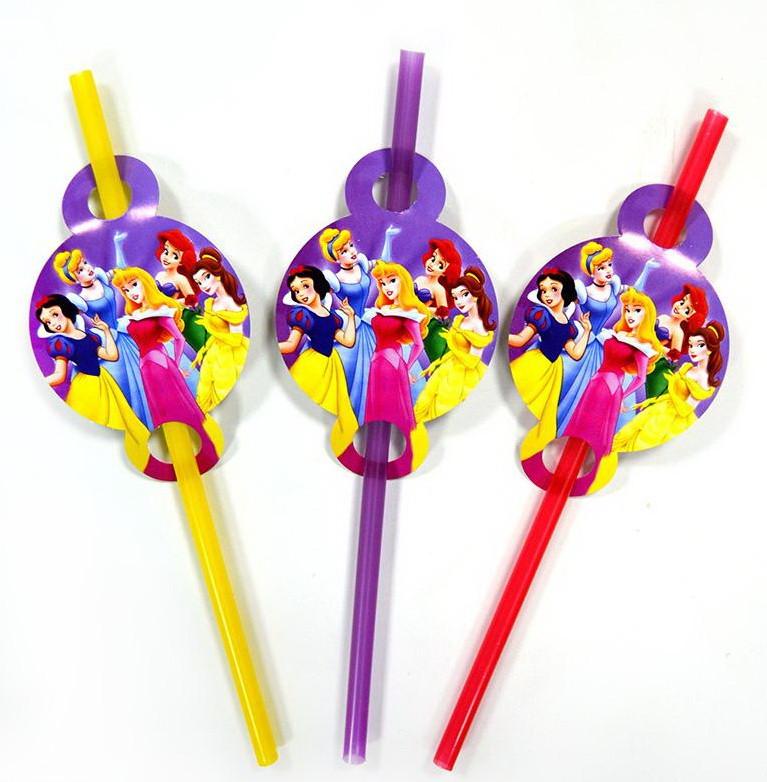 Трубочки для вечеринки Принцессы Диснея 8 штук