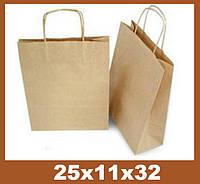 Бумажные пакеты, 25x11x32см, крафт Эко 100 гр.м, коричневый