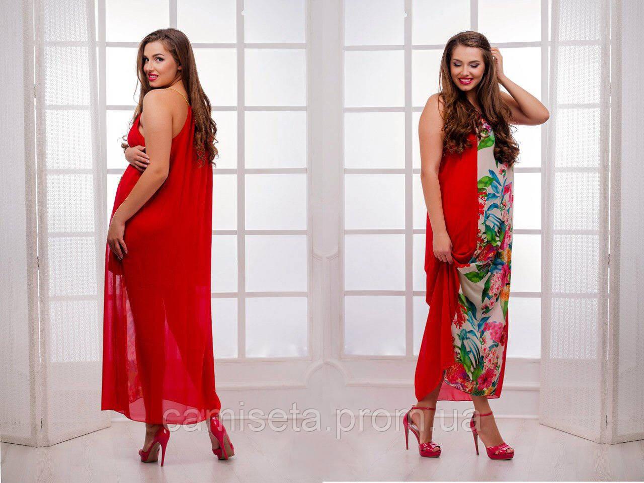 16ddff07977 Платье женское длинное шифоновое с цветами P2831 - Интернет-магазин одежды