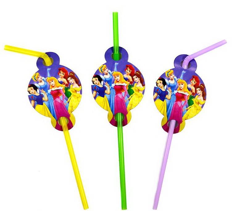 Коктейльные трубочки с гофрой Принцессы Дисней 8 штук