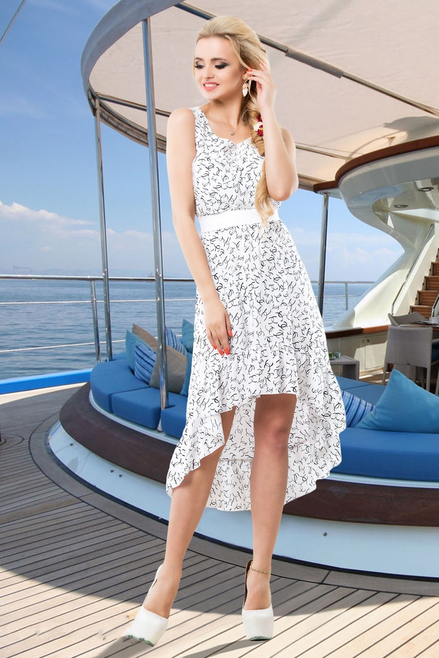5685461c407c09b Легкое Летнее Платье со Шлейфом под Пояс Белое S-XL - Ukraine In Trend -