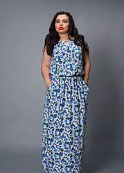 Привлекательное летнее женское платье в голубой гамме