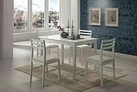 Комплект Пилар, набор мебели из дерева, стол и 4 стула цвет белый