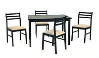 Комплект Пилар, набор мебели из дерева, стол и 4 стула, цвет венге