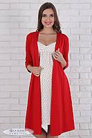 Набор для беременных и кормящих (халат+ночная сорочка), красный