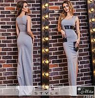 Трикотажное длиное платье с карманами из эко кожи