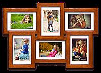 Деревянная мультирамка-коллаж Классическая на 6 фотографий палисандр
