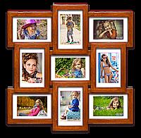 Деревянная мультирамка-коллаж Классическая на 9 фотографий палисандр