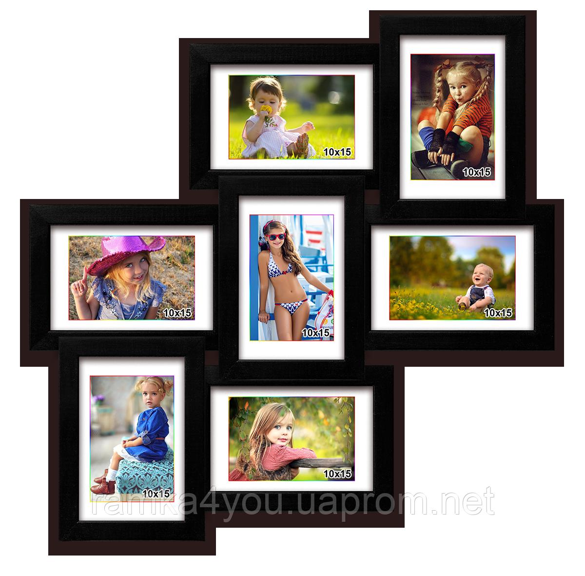 Деревянная мультирамка-коллаж Классическая на 7 фотографий черная
