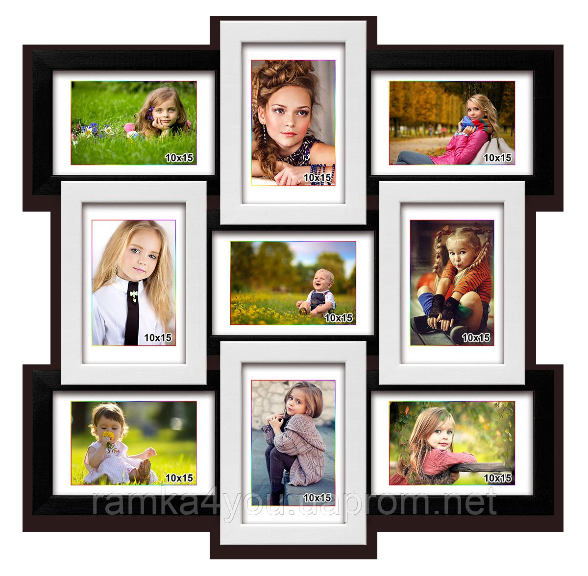 Деревянная мультирамка-коллаж Классическая на 9 фотографий черно-белая