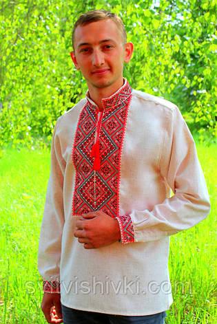 Вышитая мужская сорочка на лене с красной вышивкой, фото 2