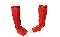 Защита для ног (голень+стопа) для тайского бокса с фиксатором ELAST MA-4613-R (р-р S-L, красный)