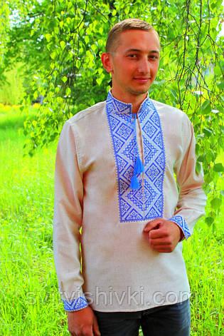 Мужская вышиванка на сером лене , фото 2