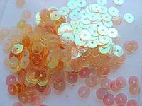 Упаковка пайеток. Круглые, полупрозрачные, оранжевые, 7 мм