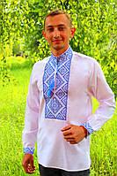 Мужская вышитая рубашка с оригинальным узором вышитым крестиком на бпатисте