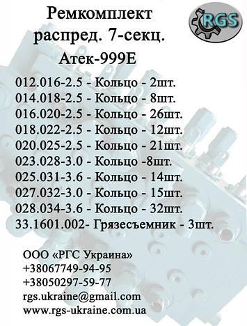 Ремкомплект гидрораспределителя 72.9001.000-01 к экскаватору Атек-999Е