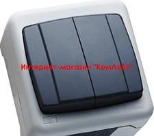 Выключатель влагозащищенный двухклавишный MAKEL IP55 Plus серый (Турция)