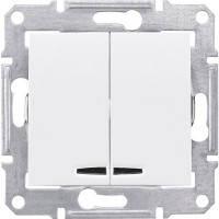Выключатель 2-клавишный с подсветкой, белый - Schneider Electric Sedna