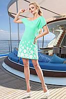 Модное Бирюзовое Платье на Одно Плечо с Морскими Мотивами S-XL