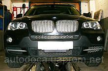 Декоративно-защитная сетка радиатора BMW X5 (E70) фальшрадиаторная решетка (ноздри)