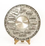 Тарелка оловянная, олово, Германия, история паровозостроения , фото 1