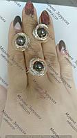 Серебряное кольцо + серьги