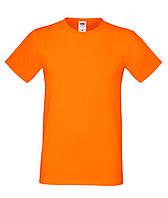 Футболка мужская хлопок приталенная Fruit of the Loom 61-412-0 Fruit of the Loom, XXXL(60), Приталенный, Марокко, Оранжевый