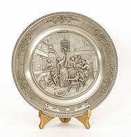 Настенная коллекционная тарелка, олово, Германия, Клетка с попугаем, фото 1