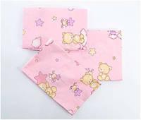 Комплект постельного белья в детскую кроватку 3 предмета, розовый