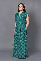 Бирюзовое платье из штапеля модной расцветки воротник стойка