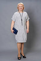 Оригинальное батальное платье белого цвета с геометрическим орнаментом бусы в комплекте