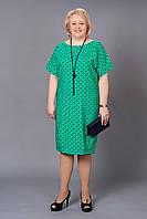 Бирюзовое платье свободного кроя рукав летучая мышь с бусами в комплекте